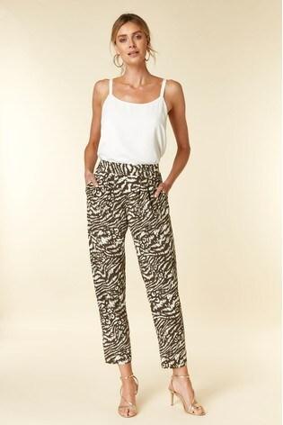 dc3d6bcc3443 Buy Wallis Khaki Animal Print Tapered Trouser from the Next UK ...