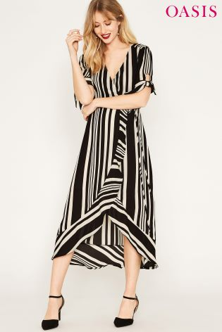 e3fbeab8a710 Buy Oasis Black Stripe Wrap Midi Dress from Next Ireland
