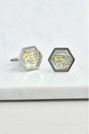 Buy Personalised Hexagon Map Cufflinks by Ellie Ellie from the Next