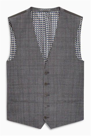 856ba7d7 Buy Textured Check Slim Fit Suit: Waistcoat from Next Gibraltar