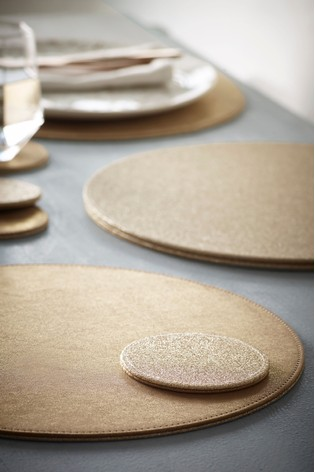 Gold Glitter Placemats and Coaster Set