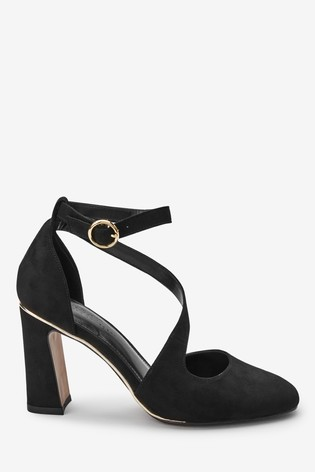 classic reasonably priced uk cheap sale Black Asymmetric Strap Block Heel Shoes