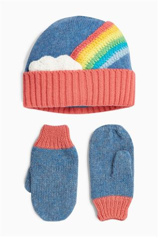 171fa7ce8de Buy Rainbow Hat And Mitts Set (Younger) from Next Netherlands