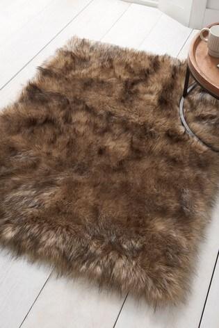 Natural Faux Fur Rug