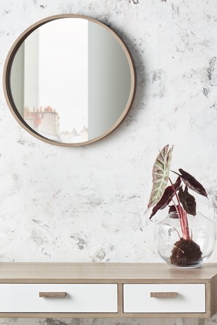 Natural Wood Round Wall Mirror By, Simple Round Mirror