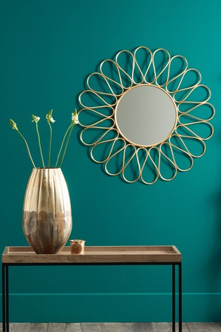 Buy Antique Gold Metal Petal Design Round Wall Mirror By Pacific From The Next Uk Online Shop