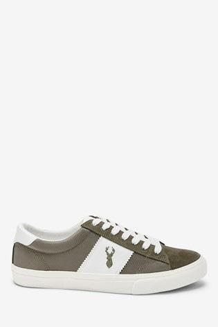 Buy Khaki Suede Side Stripe Trainers