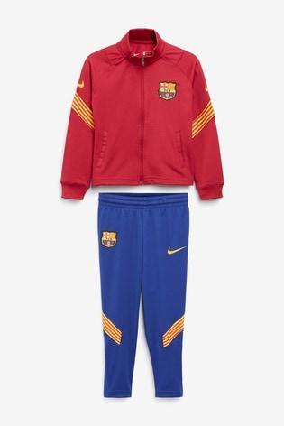 Accesorios ellos Por adelantado  Buy Nike Burgundy FC Barcelona Lil Kids Tracksuit from the Next UK online  shop