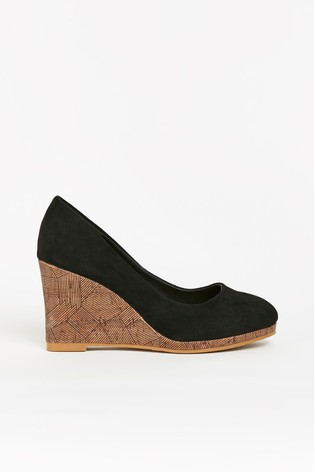 Wallis Black Platform Wedge Court Shoes