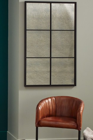 Buy Matt Black Metal 6 Pane With Foxed Glass Wall Mirror By Pacific From The Next Uk Online Shop