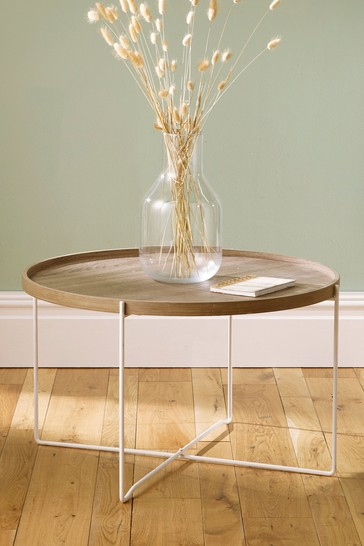 pacific natural wood and iron round coffee table