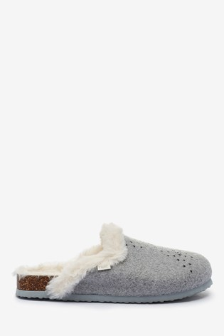 Buy Grey Star Mule Slippers from the