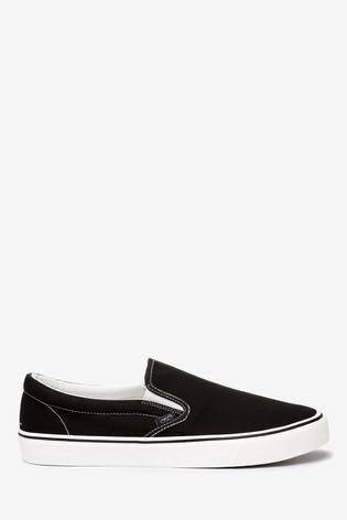 Buy Black Canvas Slip-On Shoes from the
