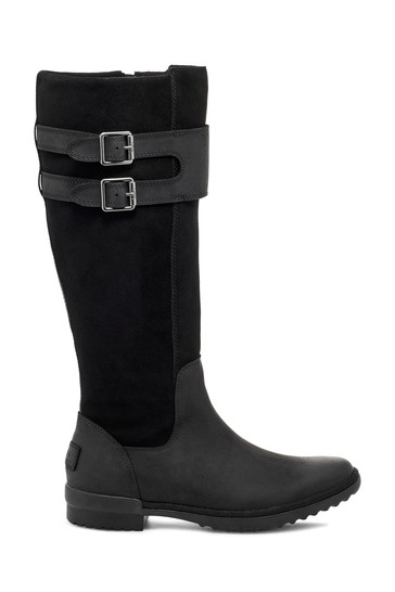 Black Zarina Leather Suede Tall Boots