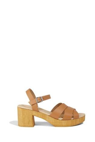 Buy Oasis Tan Leather Platform Sandals