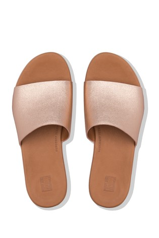 FitFlop™ Gold Sola Leather Sliders
