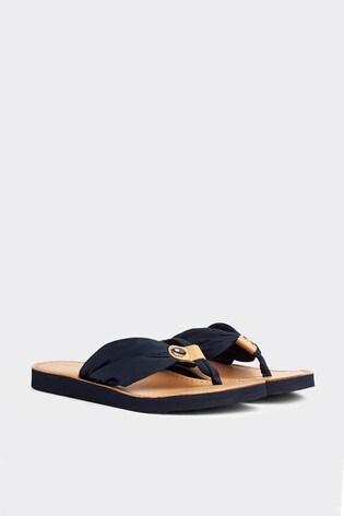 Buy Tommy Hilfiger Blue Leather Footbed