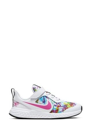 Buy Nike White/Metallic Revolution 5