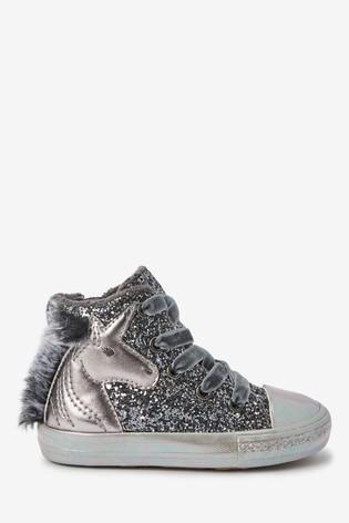Buy Silver Unicorn Warm Lined High Top