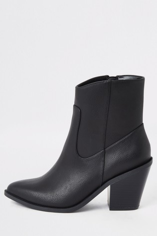 River Island Black Clean Western Boots