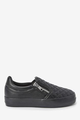Black Quilted Zip Skater Shoes (Older