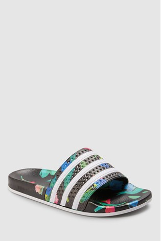 adidas Originals Black Floral Adilette Sliders