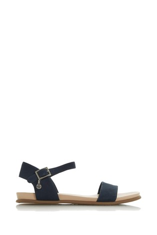 various design a few days away offer discounts Dune London Navy Leather Londonerr Softee Flat Sandals
