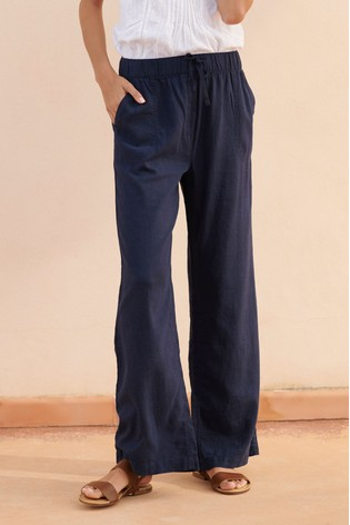 new arrival purchase newest reputation first Navy Linen Blend Wide Leg Trousers