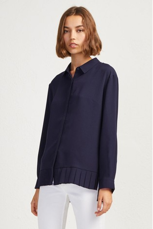 5b004011373 Buy French Connection Blue Crepe Light Pleat Shirt from the Next UK ...