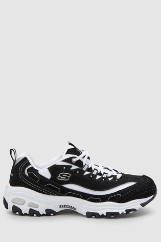 Skechers® BlackWhite D'Lite Biggest Fan Trainer