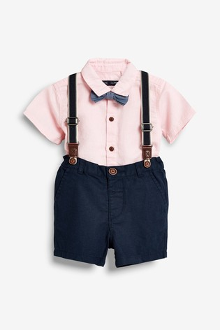 d25a9b5e7f369 Buy Shirt, Shorts, Bow Tie And Braces Set (3 мес.-7 лет) from Next ...