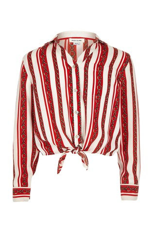 641ae185bf5128 Buy River Island Red Stripe And Chain Print Tie Shirt from the Next ...