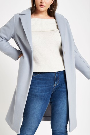 sophisticated technologies 60% cheap detailed images River Island Curve Baby Blue Long Line Coat