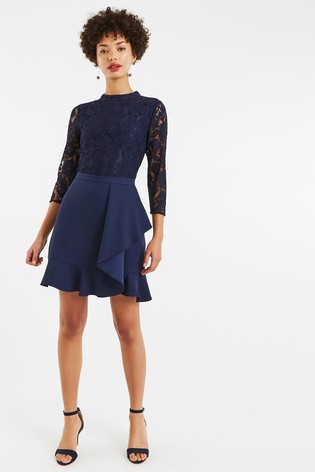 9a63d5588b68 Buy Oasis Blue Lace Flounce Shift Dress from the Next UK online shop