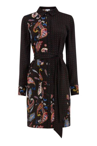 326ac75b5d1 Buy Warehouse Black Cutabout Paisley Pattern Shirt Dress from Next Ireland