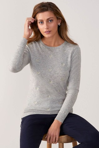 Buy Pure Collection Grey Cashmere Patterned Sweater from the Next UK ... c9bdc4b06
