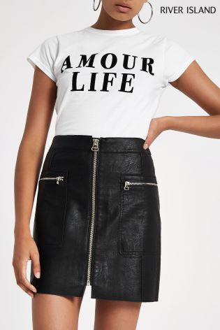 515279b11 Buy River Island Biker Mini Faux Leather Skirt from Next Ireland