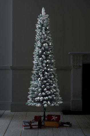Slim Christmas Tree.Snowy Slim 6ft Lit Christmas Tree