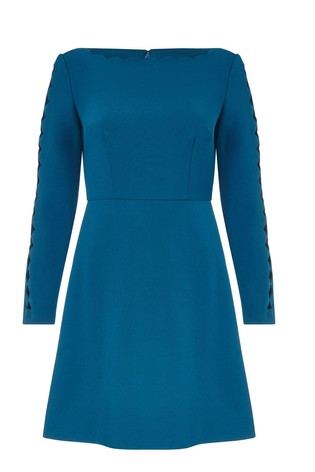 7e158216 Buy Adrianna Papell Deep Teal Scalloped Knit Crepe A-Line Dress from ...