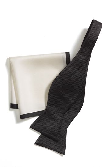 abce963bc8747 Buy Signature Self-Tie Bow Tie And Pocket Square Set from the Next ...