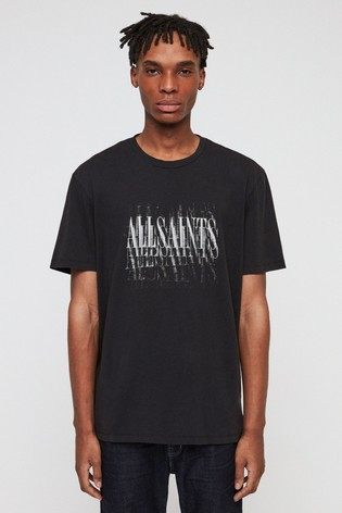 3a44302d33 Buy AllSaints Black Logo Imprint T-Shirt from Next Ireland