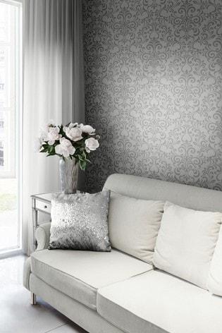 Lipsy Luxe Damask Silver Wallpaper
