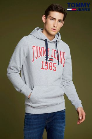 91458924 Buy Tommy Jeans Grey Essential Logo Hoody from Next Ireland