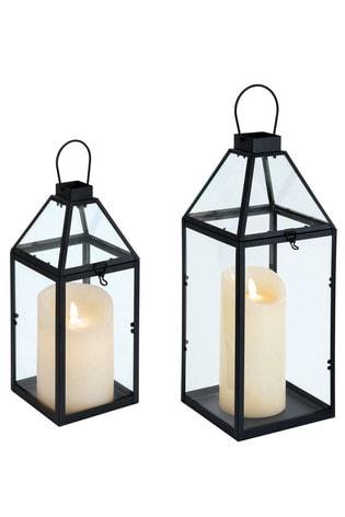 Set Of 2 Black Lanterns By Outdoor, Outdoor Candle Lanterns Uk