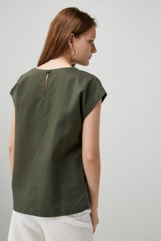 74cce502 Buy Linen Blend Boxy T-Shirt from Next Ireland