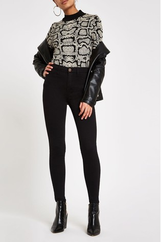 c0dec1a1a7cb5 Buy River Island Black Molly Mid Rise Jeans Long Leg from the Next ...