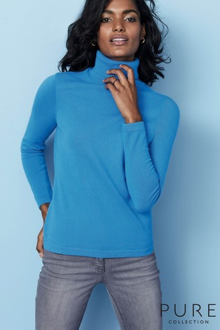 90f100f5cac Pure Collection Blue Cashmere Roll Neck Sweater