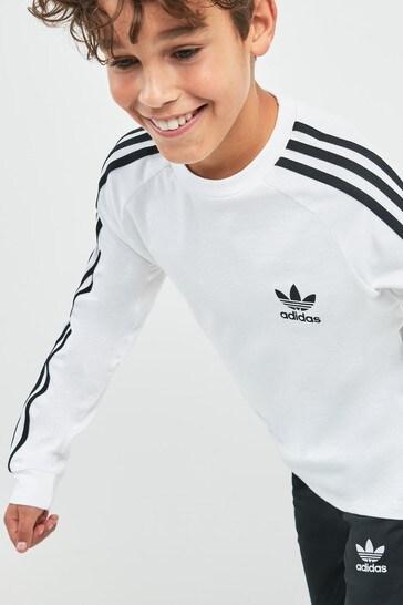 adidas Originals 3 Stripes Long Sleeve Tee | Vit