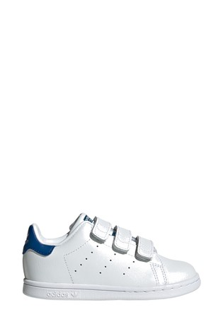 brand new 8e0f8 0d710 adidas Originals White/Blue Stan Smith Infant Trainers