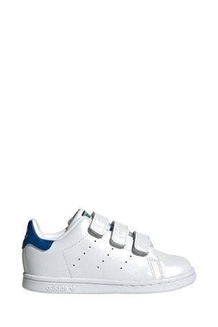 brand new 3c859 dda92 adidas Originals White/Blue Stan Smith Infant Trainers